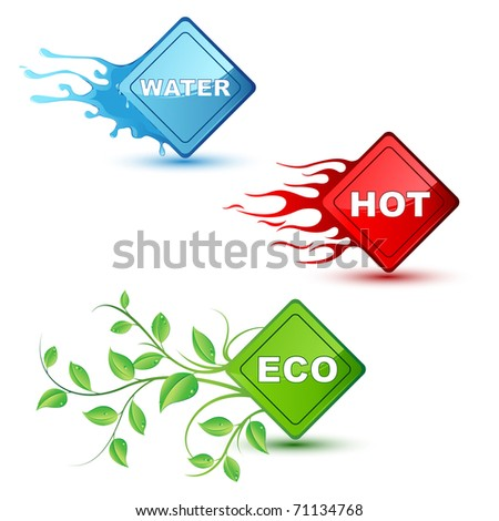 illustration of different element like water fire and eco on isolated background - stock vector