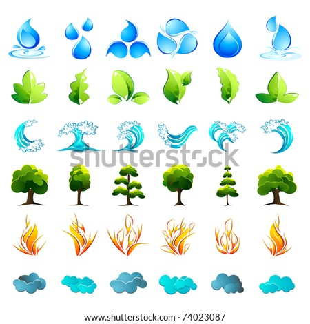 illustration of different element of nature on isolated background