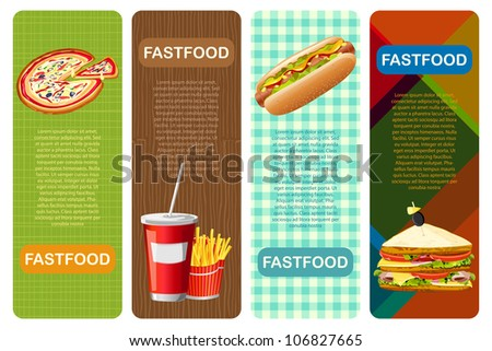 illustration of different fastfood banner with abstract background