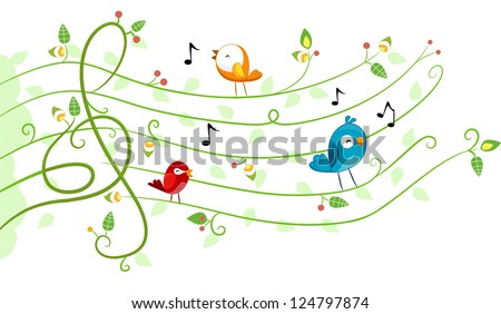 Illustration of different kinds of Birds in Musical Design
