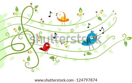 Illustration of different kinds of Birds in Musical Design
