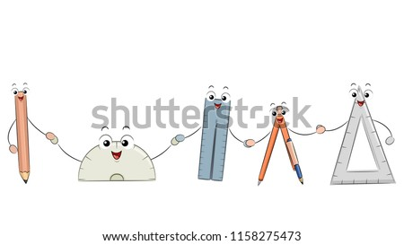 Illustration of Different Math Tools Mascot from Pencil, Protractor to Ruler