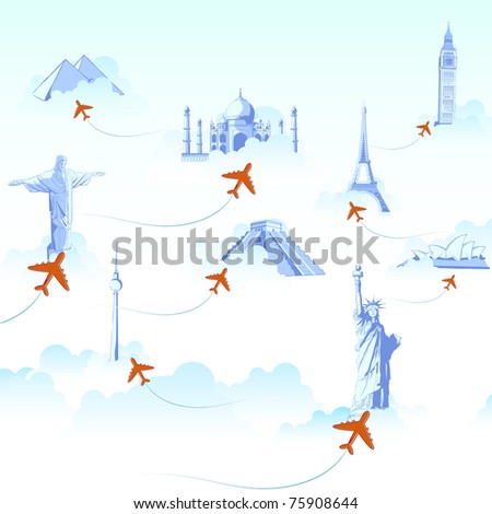 illustration of different monuments on cloud with airplane flying showing travel destination