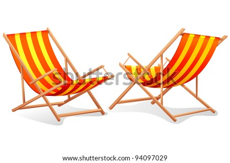 illustration of different perspective of beach chair on white background