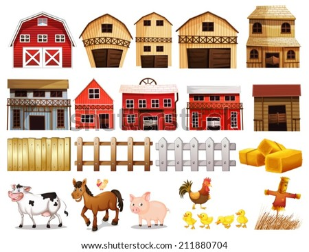 Illustration of different pictures of farm