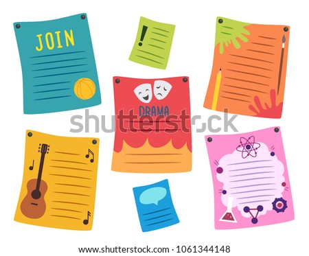 Illustration of Different School Club Posters from Basketball, Guitar, Drama, Art and Science Foto stock ©