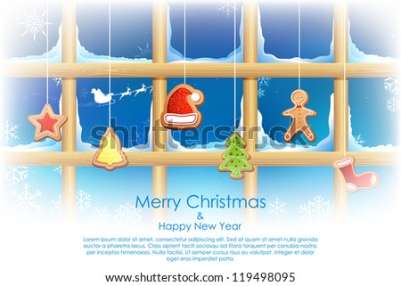 illustration of different shape cookies for christmas hanging on window
