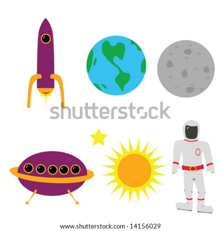 Space elements earth the moon the sun an astronaut a rocket