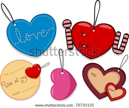 Illustration of Different Tags with a Valentine Theme