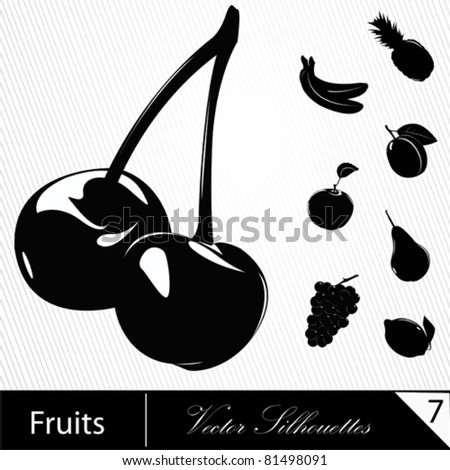 Illustration of different tasty  fruit. Vector.