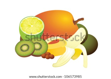 Illustration of different tropical fruits on blank, as papaya, kiwi, banana, lime and guava