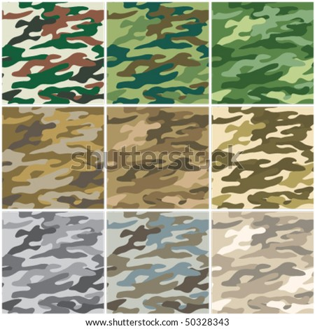 Illustration of digital camouflage seamless patterns.
