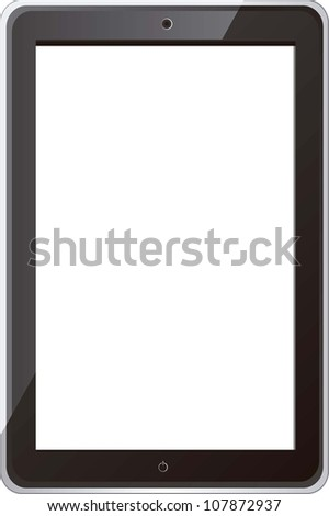 Illustration of digital tablet, isolated on white background, vector illustration