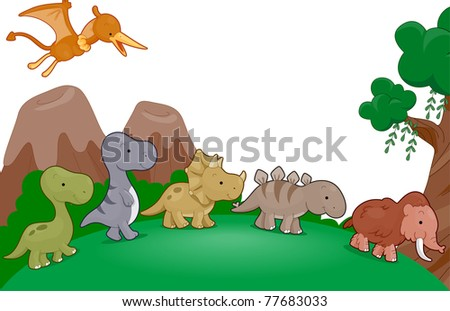 Illustration of Dinosaurs Parading Around
