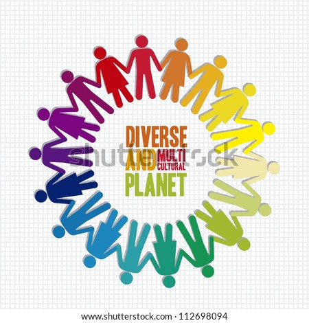 illustration of diverse and multicultural people in the planet, vector illustration
