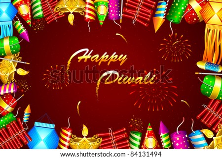 illustration of diwali background with colorful firecracker