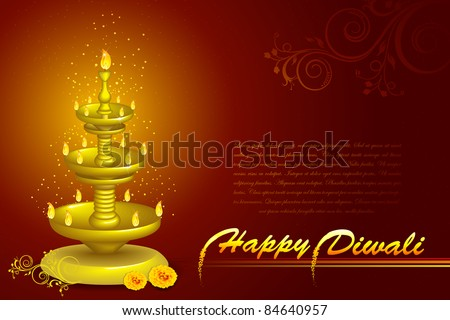 stock vector : illustration of diwali diya stand with flower decoration