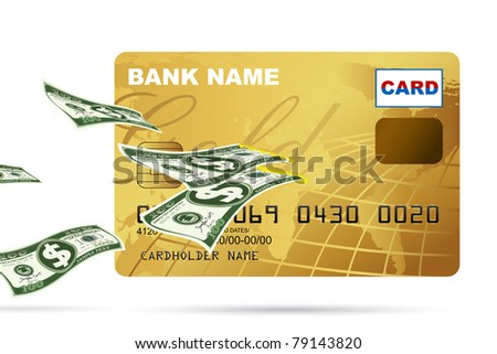 illustration of dollar coming out from credit card on white background