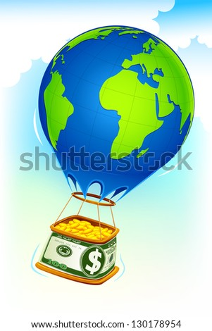 illustration of dollar hot air balloon full of gold coin