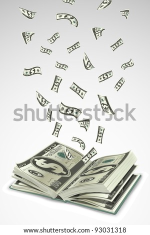 illustration of dollar note flying out from open book