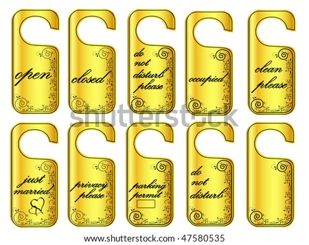 illustration of door hang tags in golden style against white