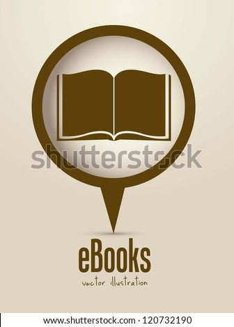 Illustration of Download ebook, with book icons, vector illustration