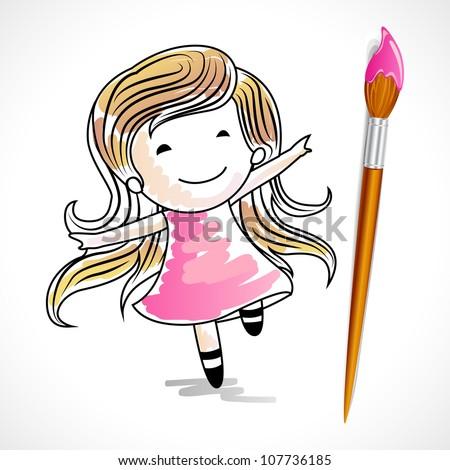 Girl Illustration Drawing Illustration of Drawing of