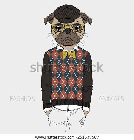 illustration of dressed up pug