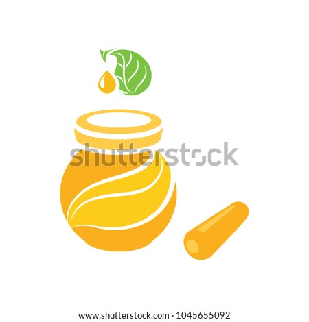 illustration of drizzler and honey with glass jar, vector honey jar, natural dessert