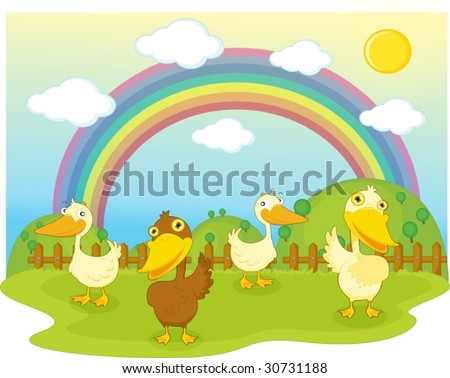 illustration of duck on background of rainbow