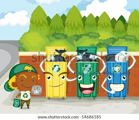 Illustration of dustbins on colorful background