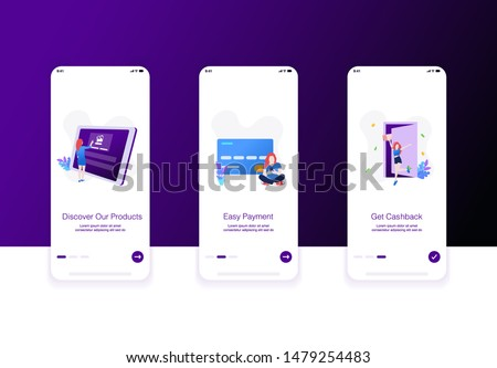 Illustration of e commerce onboarding screen. Discover our product, easy payment, get cashback. Modern flat design concept.