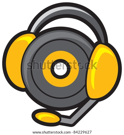 illustration of  ear phone with disc