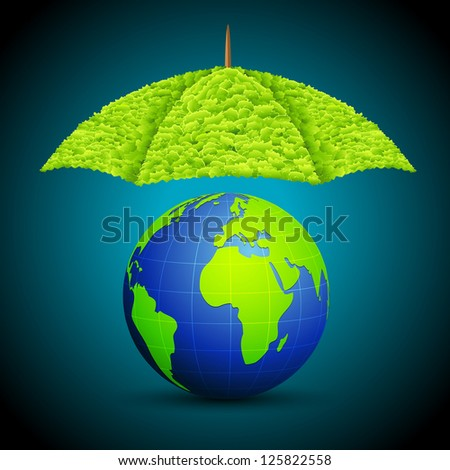 illustration of earth with grass umbrella on abstract background
