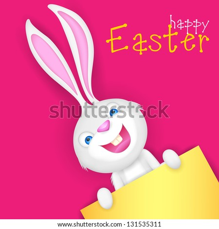 illustration of Easter bunny holding blank board for putting message