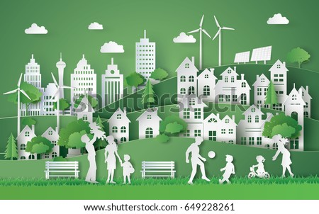 Illustration of eco and world environment day with happy family.paper art  digital craft style.