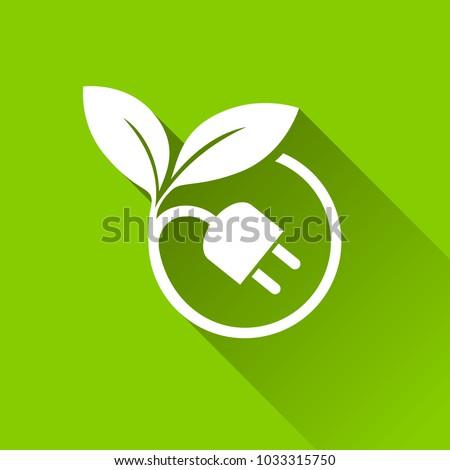 Illustration of eco plug icons with shadow