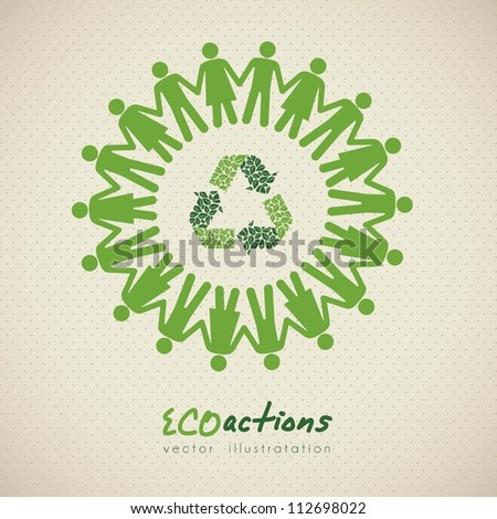 illustration of ecological icon around people, vector illustration