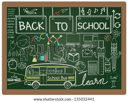 illustration of education and back to school, knowledge design icon element collection set written on blackboard background vector, eps10 - stock vector