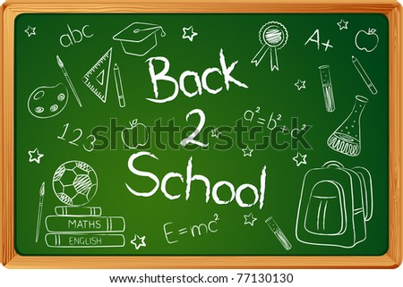 illustration of education element on chalk board