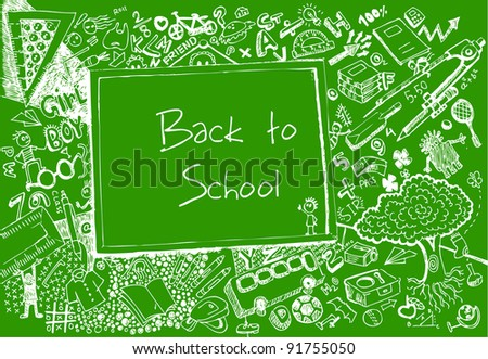 illustration of education element on chalk board in doodle style
