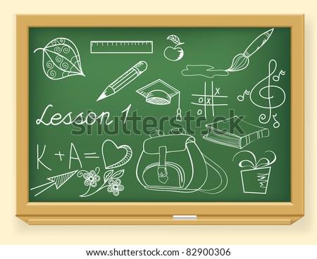 illustration of education element on school board - stock vector