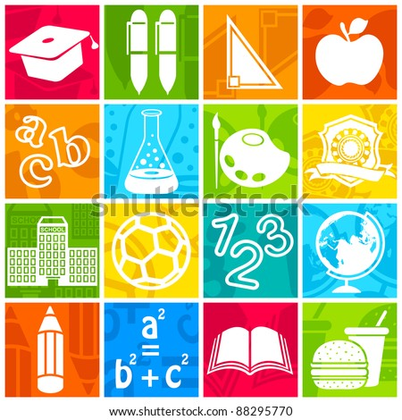 illustration of education icon on colorful background