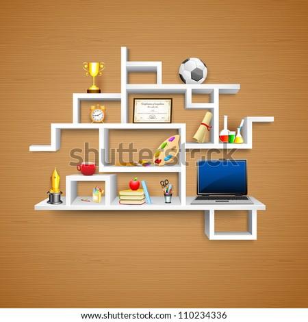 illustration of education object on display shelf