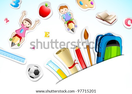 illustration of education object with kids flying on pencil