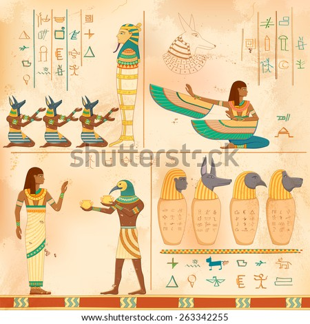 illustration of Egyptian art of human engraved on vintage wall