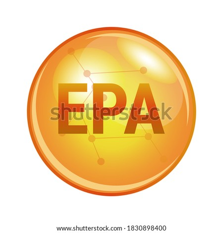 Illustration of eicosapentaenoic acid EPA found in omega-3 fatty acids. Vector medical or pharmaceutical icon of capsule for health and prevention. Gold shining pill isolated on a white background.  Foto stock ©