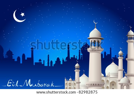 illustration of eid mubarak card with mosque in night view