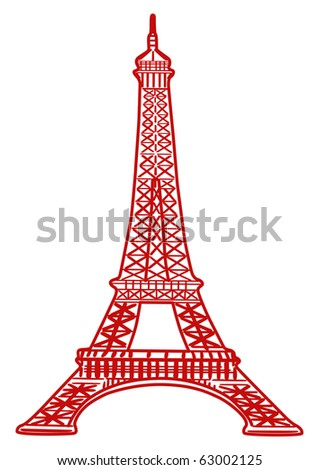 Eiffel Tower Colering Pictures on Illustration Of Eiffel Tower In Red Color   63002125   Shutterstock