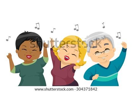 illustration of elderly women